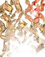 お金(一万円札)が舞い散るイメージ