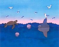 海流で遊ぶ海の生き物 ロウケツ染め