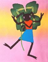 四葉のクローバーを持つアリ ロウケツ染め