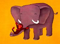象の鼻をすべる仔ザル ロウケツ染め 02237009246| 写真素材・ストックフォト・画像・イラスト素材|アマナイメージズ