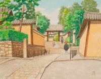 水彩「京の四季」 大徳寺 芳春院への道 北