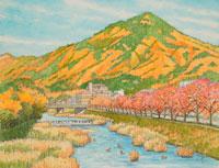 水彩「京の四季」 比叡山黄葉 左京