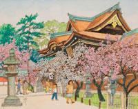水彩「京の四季」 梅薫る北野天満宮 上京