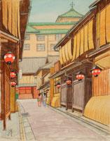 水彩「京の四季」 祇園の小路 東山
