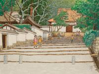 水彩「京の四季」 南禅寺の冬 東山