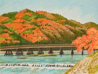 水彩「京の四季」 嵐山 渡月橋 右京 02237009413| 写真素材・ストックフォト・画像・イラスト素材|アマナイメージズ