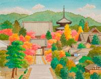 水彩「京の四季」 真如寺の紅葉 左京