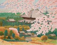 水彩「大和路」 桜の大仏殿 奈良市
