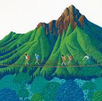 夏休みの吊り橋を行く夏山登山