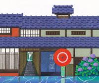 梅雨の6月の京都に蛇の目傘の人とアジサイ