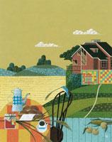秋に畑の見えるテラスでパンとコーヒー 02237009507| 写真素材・ストックフォト・画像・イラスト素材|アマナイメージズ