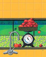 キッチンに初夏の味の新鮮なトマト
