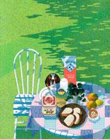 庭の朝食と犬