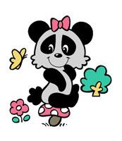 キノコに座り蝶と戯れる女の子のパンダ