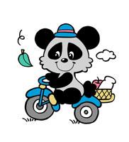 自転車に乗り買い物帰りの男の子のパンダ