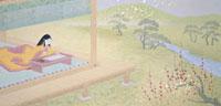 平安時代源氏物語紅梅と庭で写経をする少女