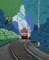 アジサイと電車