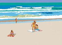 砂浜で海水浴を楽しむ人々 02237009812| 写真素材・ストックフォト・画像・イラスト素材|アマナイメージズ