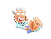 診察する医者とおじいちゃん