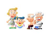 診察されるおじいちゃんと家族と医者