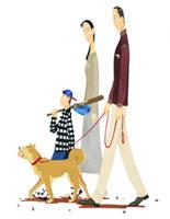 野球の道具を持った家族と犬