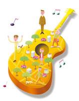 ギターの上にいろいろな人々