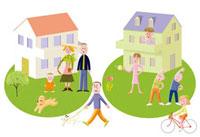 ガーデニングや運動を楽しむ家族