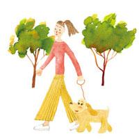 犬と散歩する女性 水彩タッチ