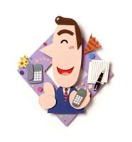 紫の菱形に電話や手紙、スーツ男性