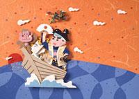 夕焼け背景に船で海を渡る桃太郎一行