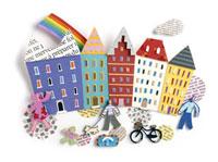 町並みと散歩する人々、虹