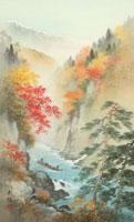 四季の山水画 紅葉の渓流下り 9/10月 02237011913| 写真素材・ストックフォト・画像・イラスト素材|アマナイメージズ