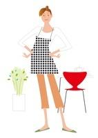 ダイニングキッチンと植物とエプロンの主婦 02237012823| 写真素材・ストックフォト・画像・イラスト素材|アマナイメージズ