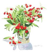 アオイとアンティークガラス花瓶