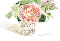 イングリッシュローズとクレマチスの花