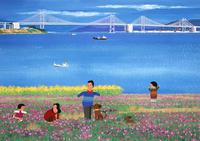海の見える花畑と家族 02237013189| 写真素材・ストックフォト・画像・イラスト素材|アマナイメージズ