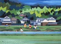 こどもの日 川で遊ぶ子供と鯉のぼり