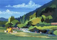 夏の川辺でキャンプを楽しむ家族