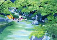 自然豊かな川でキャンプをする人たち 02237013238| 写真素材・ストックフォト・画像・イラスト素材|アマナイメージズ