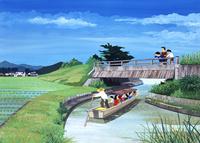 田園風景の中を流れる川を小船で下る人たち