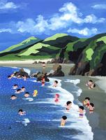 夏の砂浜で海水浴をして遊ぶ子どもたち