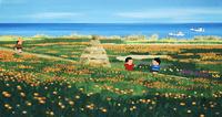 海の見える花畑で遊ぶ子供