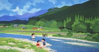 夏の河原で遊ぶ子供