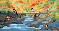 橋の架かる川で遊ぶ子供 02237013303| 写真素材・ストックフォト・画像・イラスト素材|アマナイメージズ