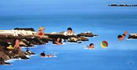 日本の四季 海で遊ぶ子供