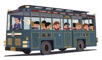レトロバスに乗る子どもたち