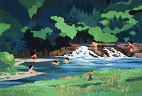 川で水遊びする子供