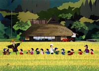田んぼの中を通って遠足 02237013424| 写真素材・ストックフォト・画像・イラスト素材|アマナイメージズ
