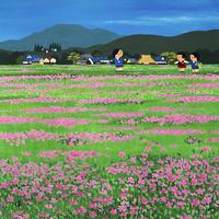 レンゲ畑の広がる農村風景 02237013440| 写真素材・ストックフォト・画像・イラスト素材|アマナイメージズ