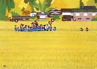 黄金色に稲の実った田んぼにてお祭りを行う人々 02237013467| 写真素材・ストックフォト・画像・イラスト素材|アマナイメージズ